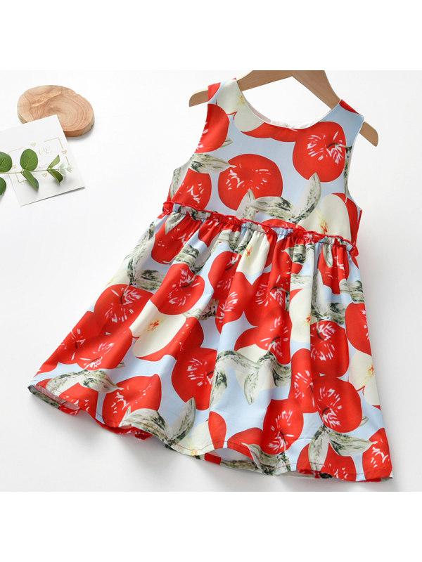 【18M-7Y】Girl Sweet Apple Print Sleeveless Dress