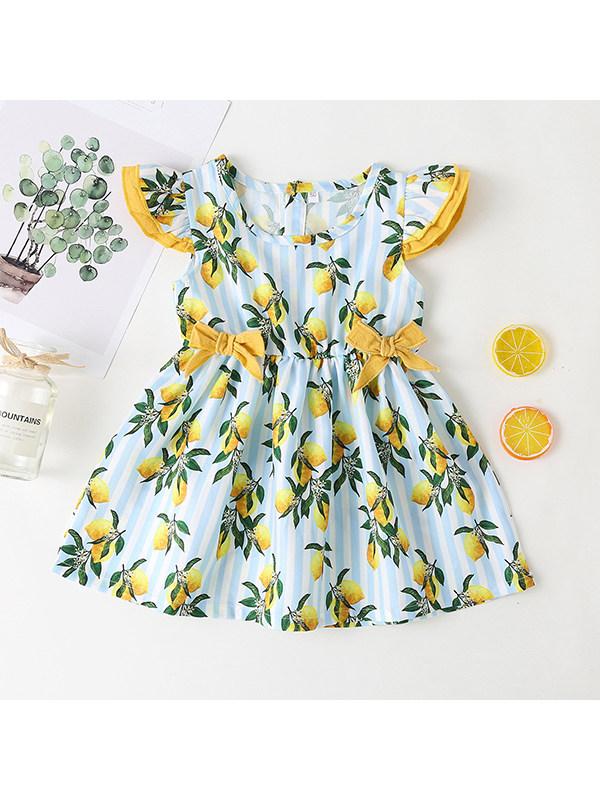 【6M-2.5Y】Girls Lemon Print Flying Sleeve Waist Dress