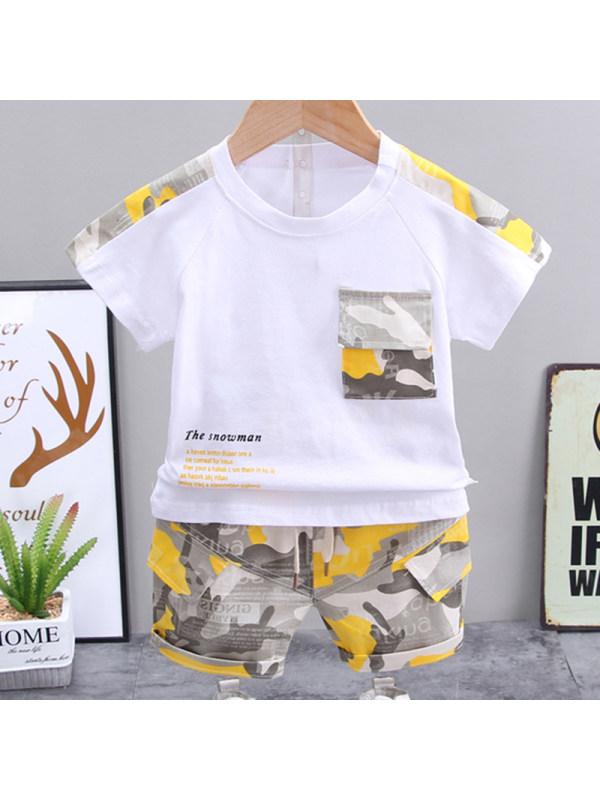 【12M-4Y】Boys Fashion Camouflage Round Neck Short Sleeve T-Shirt Shorts Set