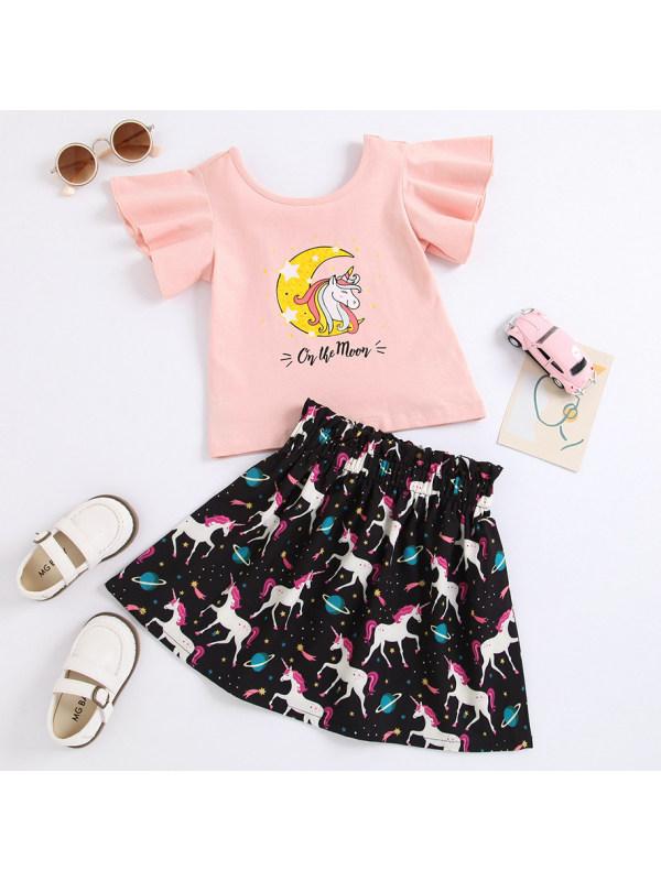 【18M-7Y】Cute Cartoon Unicorn Pink T-shirt and Skirt Set