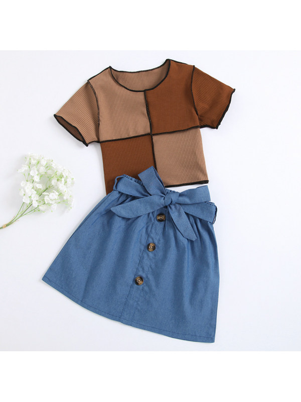 【18M-7Y】Sweet Colorful Round Neck Short-sleeved Top and Blue Denim Skirt Set