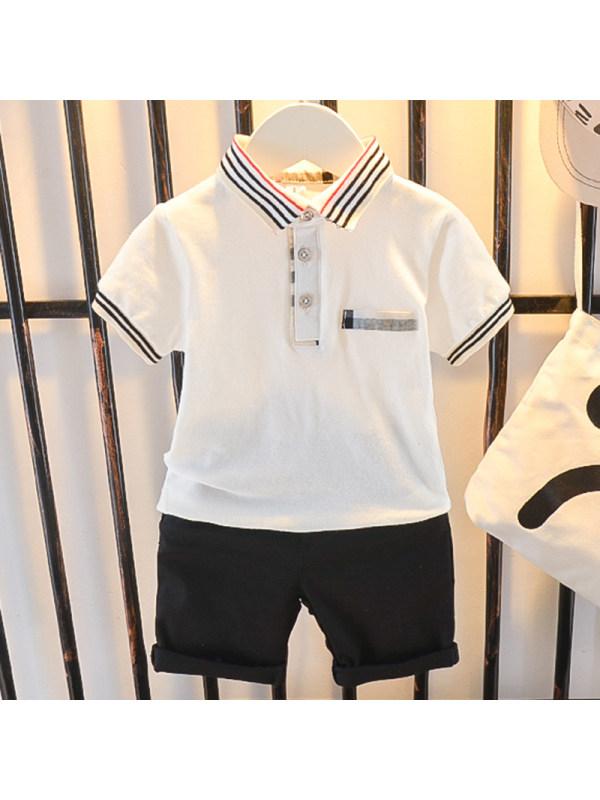 【12M-5Y】Boys Fashion Lapel Short Sleeve T-shirt Shorts Set