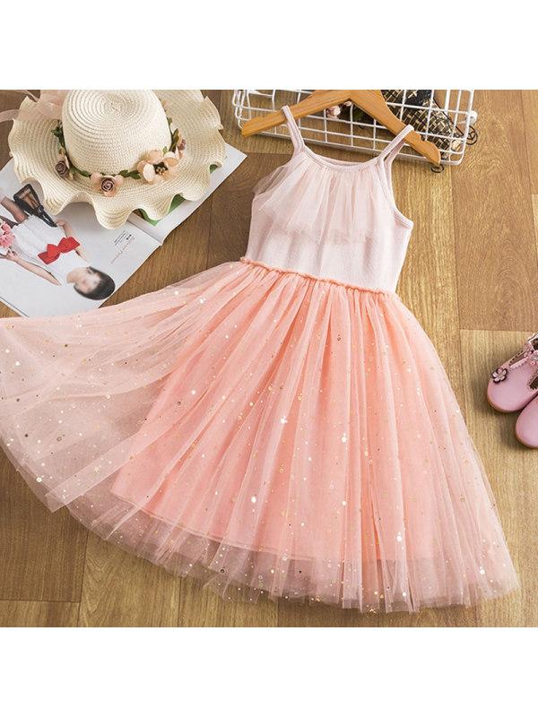 【2Y-9Y】Girl's Sweet Sling Mesh Dress