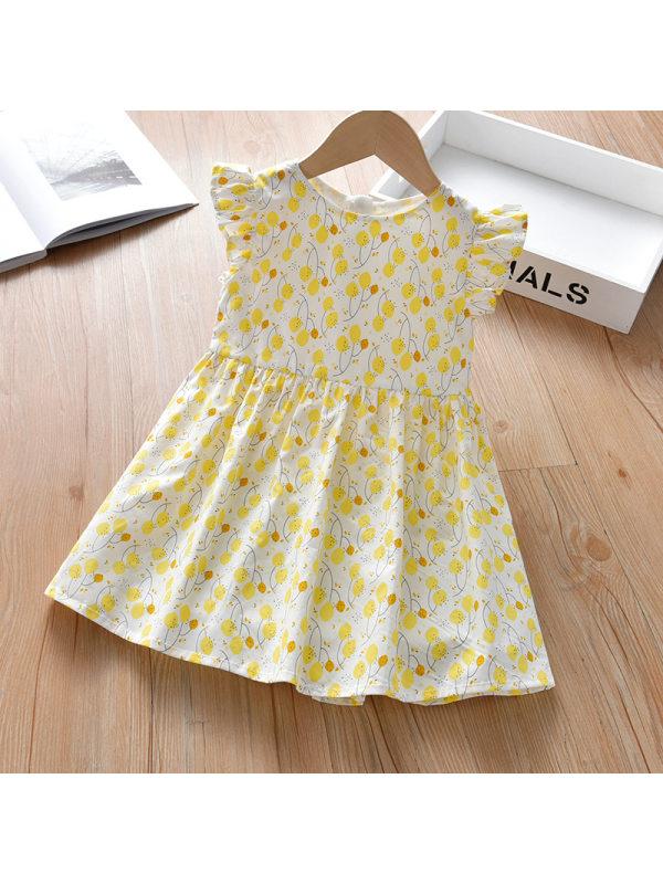 【18M-7Y】Cute Yellow Flower Print Round Neck Dress