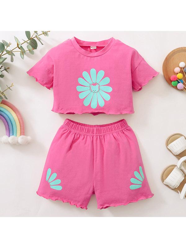 【12M-4Y】Girls Sweet Flowers Short Sleeve T-shirt Shorts Set