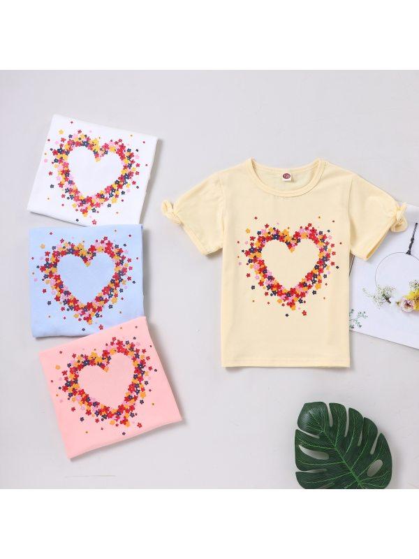 【4Y-13Y】Girls Fashion Casual Flower Love Bow Short-sleeved T-shirt