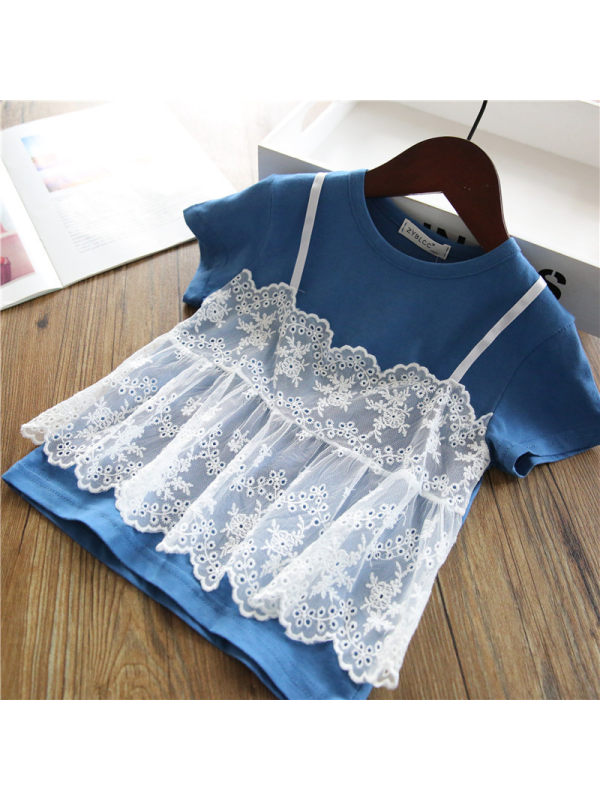 【18M-7Y】Sweet Lace Fake Two-piece Top