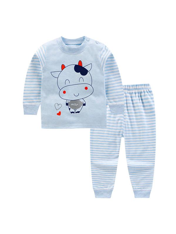 【9M-7Y】Children's Cartoon Printed Color Cotton Home Clothes