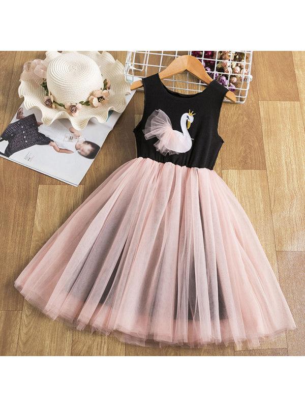 【2Y-9Y】Girl Sweet Swan Sleeveless Mesh Dress