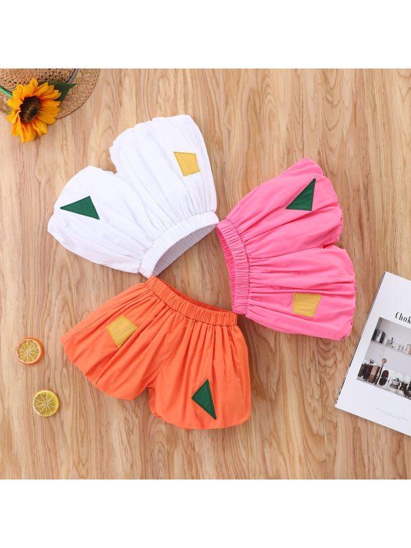 【3M-18M】Girls Fashion All-match Geometric Stitching Lantern Shorts