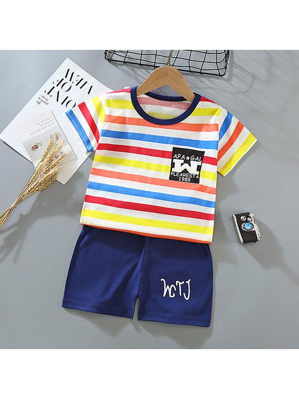 【9M-5Y】Children's Cotton Cartoon Print Short-sleeved T-shirt Shorts Suit