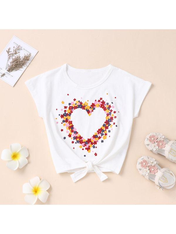 【4Y-13Y】Girls Fashion Casual Flower Love Short-sleeved T-shirt