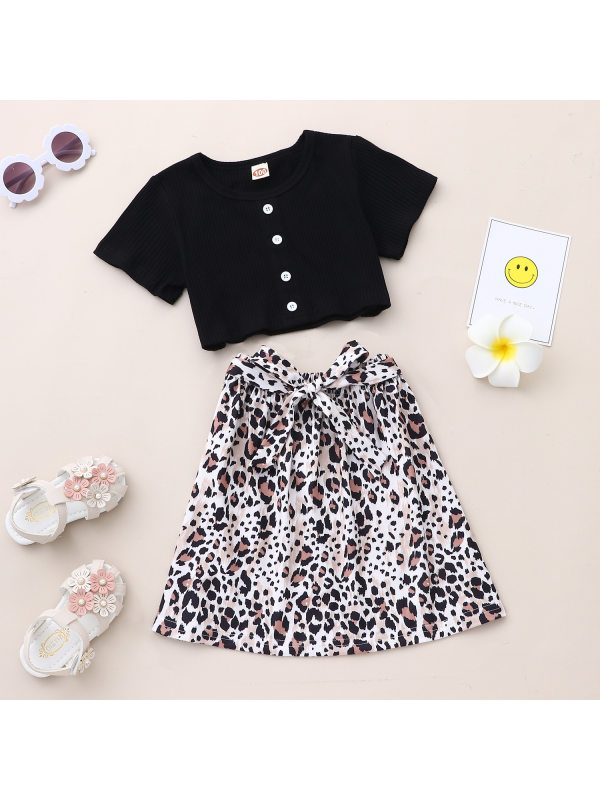 【18M-7Y】Girls Casual Short-sleeved T-shirt Leopard Print Skirt Suit