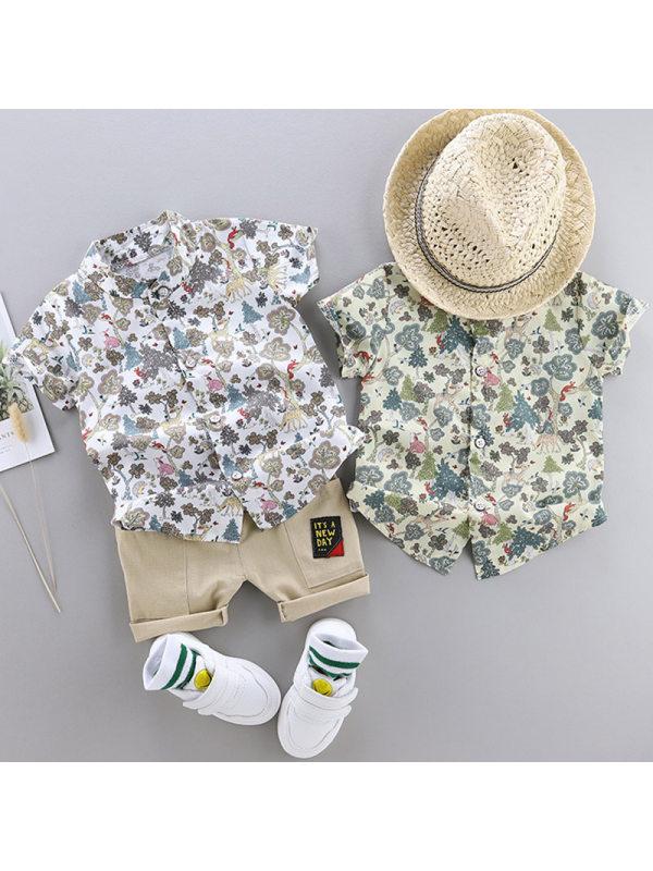 【12M-4Y】Boy Fashion Flower Short Sleeve Shirt Shorts Set