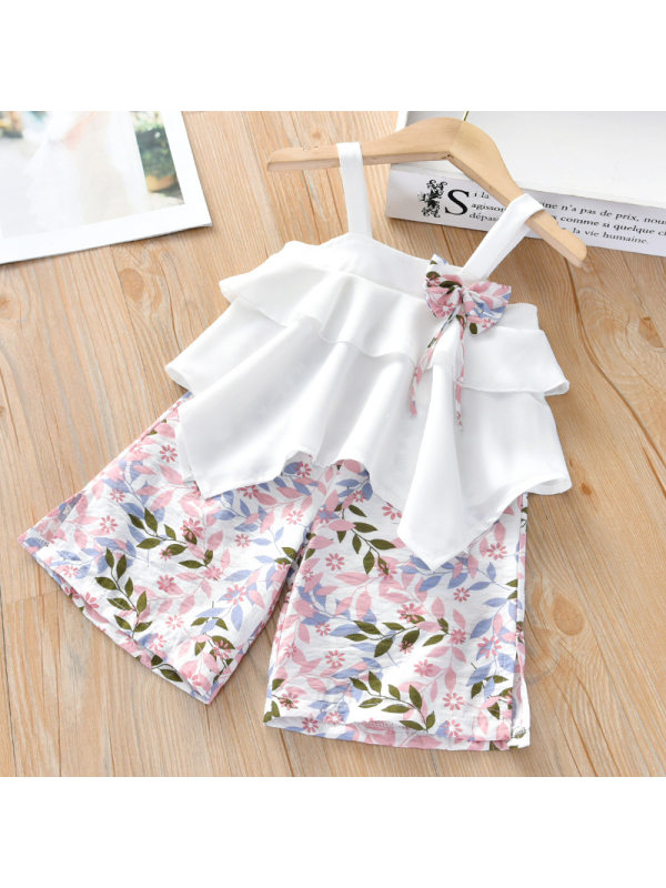 【18M-7Y】Girl Sweet Chiffon Top and Shorts Set