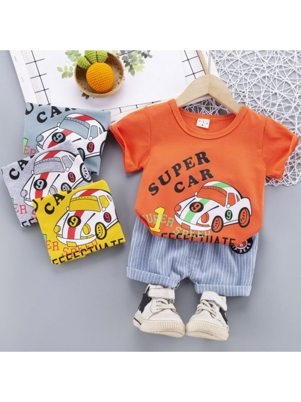 【12M-4Y】Boy Fashion Cartoon Pattern Round Neck Short Sleeve T-shirt Denim Shorts Set