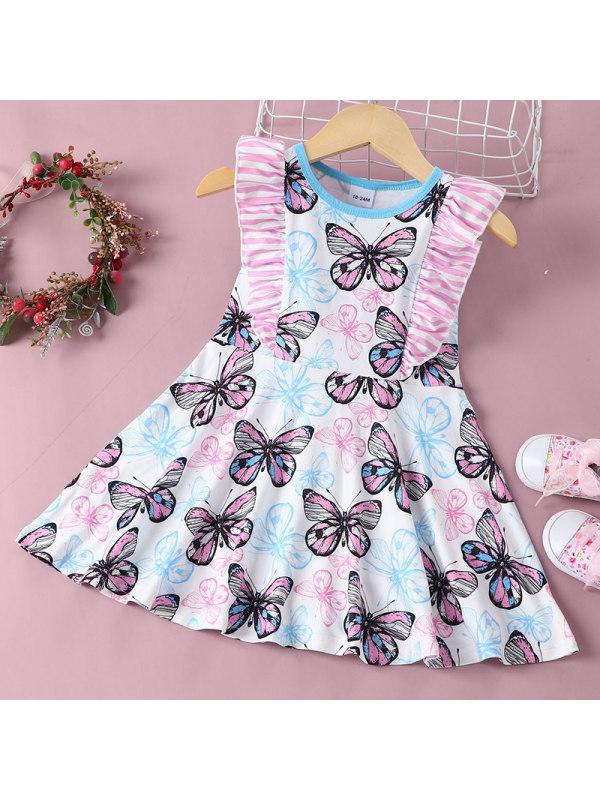 【18M-7Y】Girl Sweet Pink Butterfly Pattern Sleeveless Dress