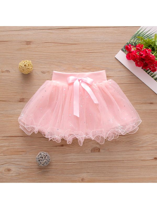 【12M-5Y】Girls Small Bow Love Sequins Pure Color Mesh Fairy Skirt