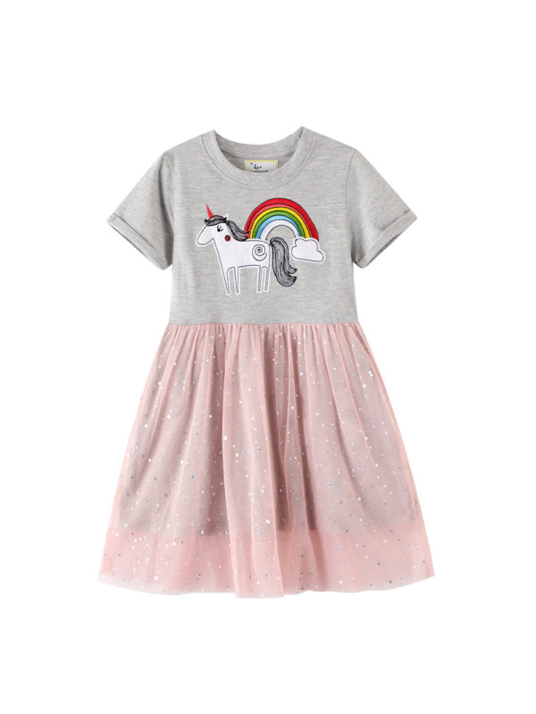 【12M-7Y】Girls' Lace Contrast Stitching Rainbow Unicorn Embroidered Dress