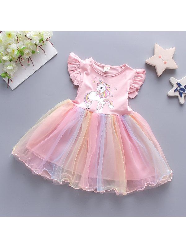 【12M-4Y】Girls Rainbow Pony Color Glitter Mesh Stitching Sleeveless Skirt
