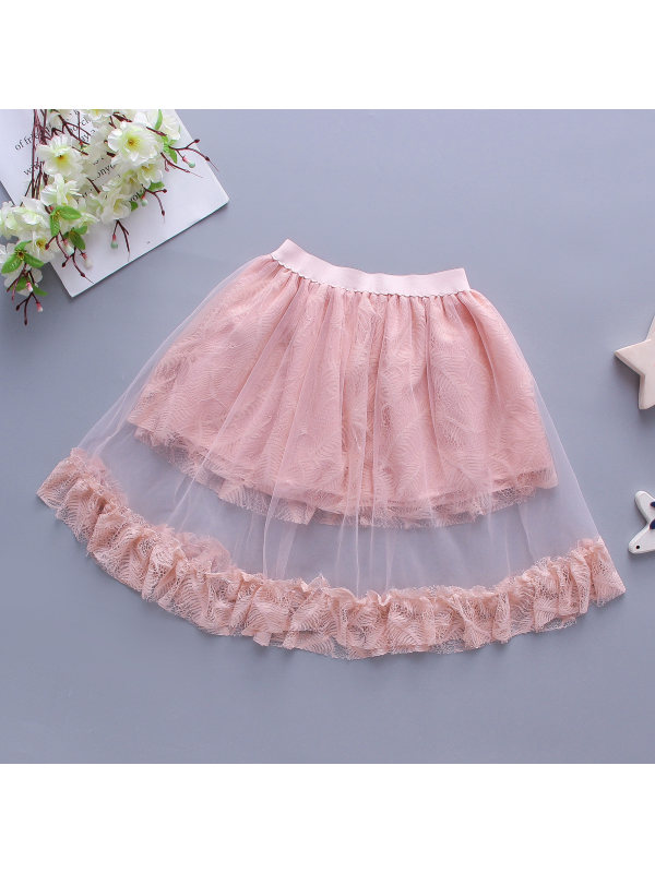 【3Y-11Y】Girls Sweet Lace Floral Embroidery Hollow Mesh Short Skirts