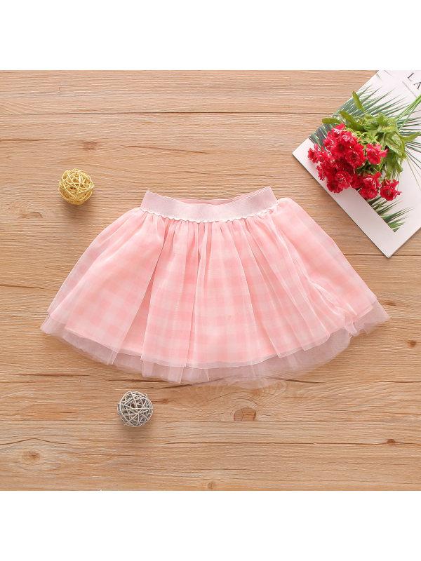 【12M-5Y】Girls Retro Style Plaid Printed Pure Color Mesh Stitching Short Skirt