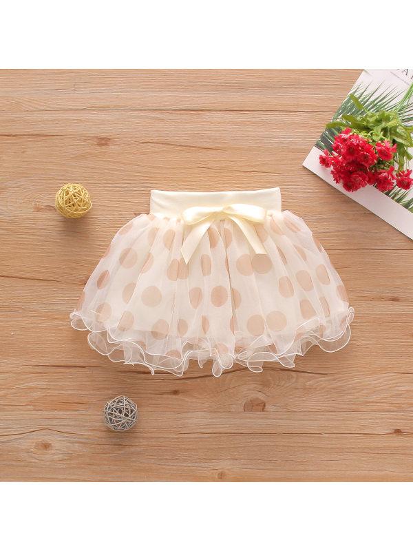 【12M-5Y】Girls Polka Dot Print Double-layer Mesh Cute Bow Skirt