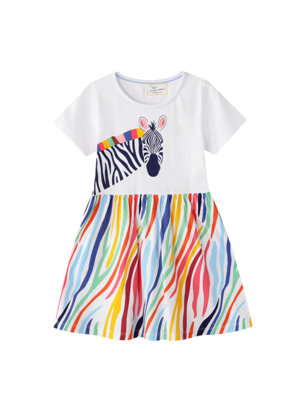 【12M-7Y】Girls' Contrast Stitching Zebra Print Dress