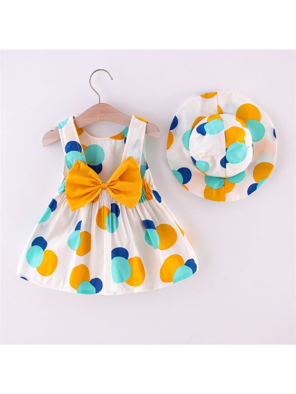 【12M-4Y】Girls Sleeveless Color Stiching Polka Dot Print Bowknot Vest Skirt with Hat