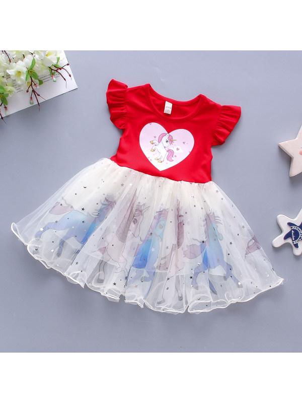【12M-5Y】Girls Sleeveless Love Pony Print Sweet Mesh Stitching Princess Dress