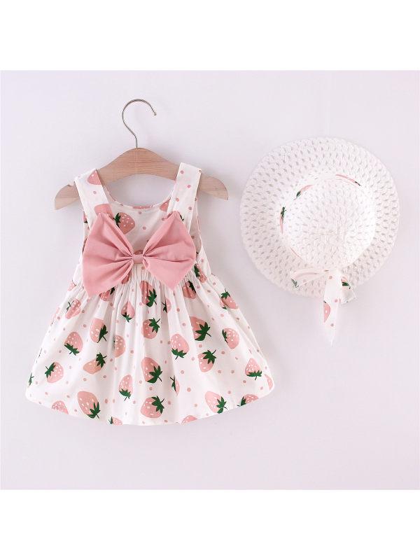 【12M-4Y】Girls Bow Cute Cartoon Strawberry Print Suspender Skirt with Hat