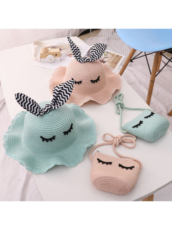 Sweet Cartoon Embroidery Hat and Bag Set