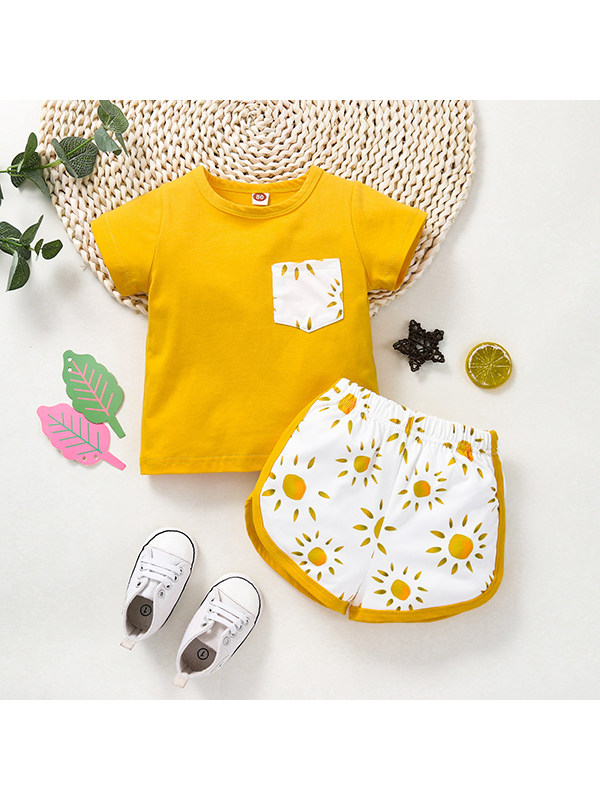 【12M-4Y】Girls Round Neck Short Sleeve Pockets Contrasting Color Matching Print Shorts Set