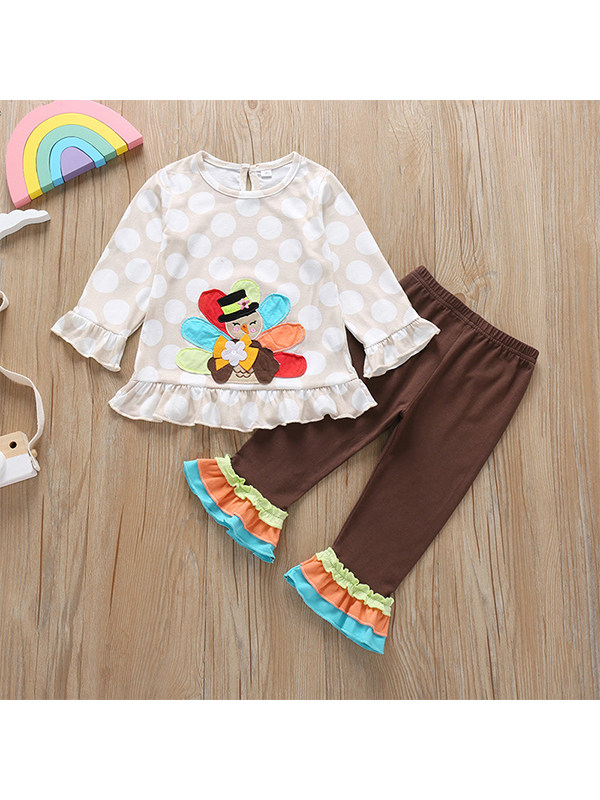 【18M-5Y】Girls Cartoon Long-sleeved T-shirt and Trousers Two-piece Ruffle Suit