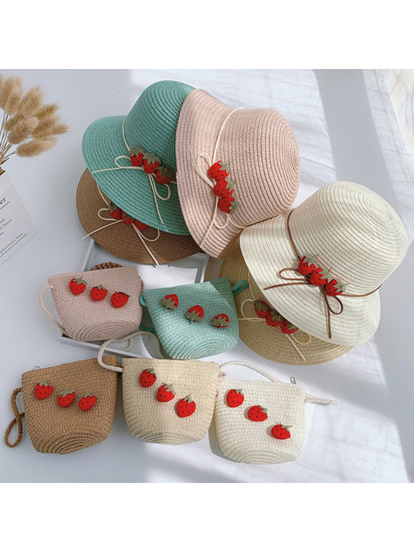 Sweet Strawberry Hat and Bag Set