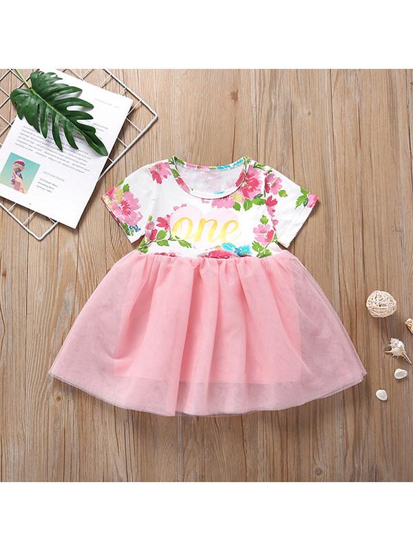 【12M-5Y】Girls Printed Fashion Short Sleeve Dress