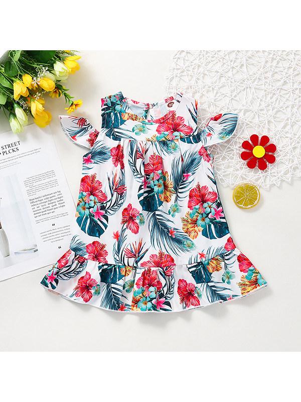 【6M-2.5Y】Girls Round Neck Strapless Printed Dress