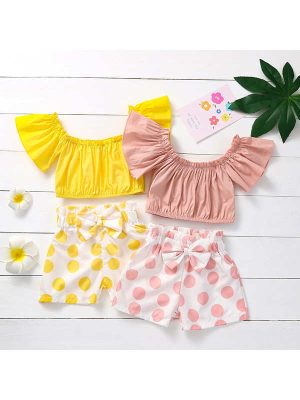 【18M-5Y】Girls Short Sleeves Top with Polka Dot Shorts Suit