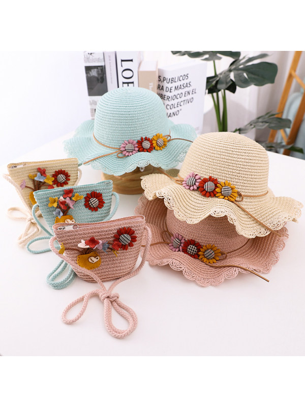 Sweet Butterfly and Flower Hat and Bag Set