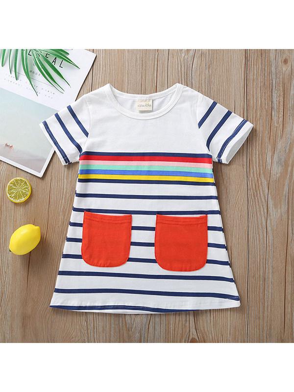 【18M-7Y】Girls Short Sleeve Striped Dress