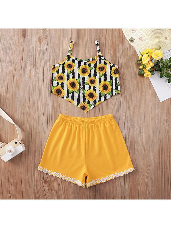 【18M-7Y】Girls Sunflower Print Suspender Top Shorts Suit