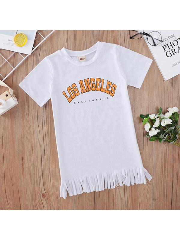 【18M-7Y】Girls White Letter Print Short Sleeve Dress