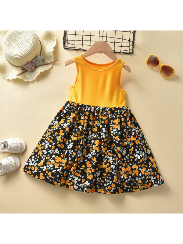 【18M-7Y】Girls Summer Pastoral Style Sleeveless Floral Dress