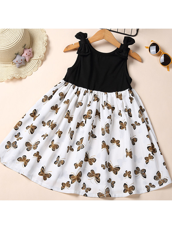 【2Y-9Y】Girls Butterfly Print Sleeveless Vest Loose Dress