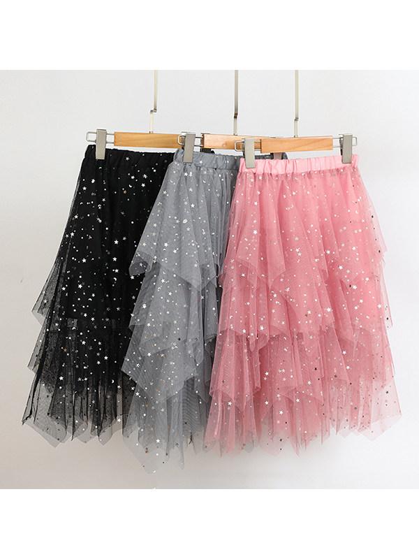 【3Y-13Y】Irregular Star Cake Dress for Big Girls