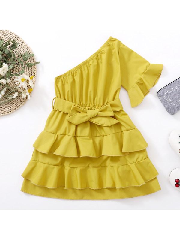 【80-130cm】Sweet Ruffled One Shoulder Dress