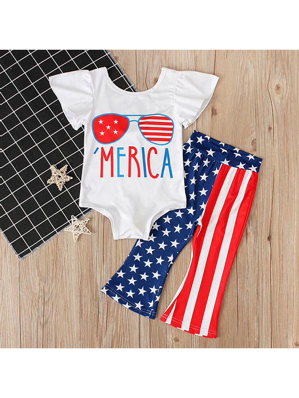 【12M-4Y】Girls Independence Day Little Flying Sleeve Romper with Trousers Two-piece Suit