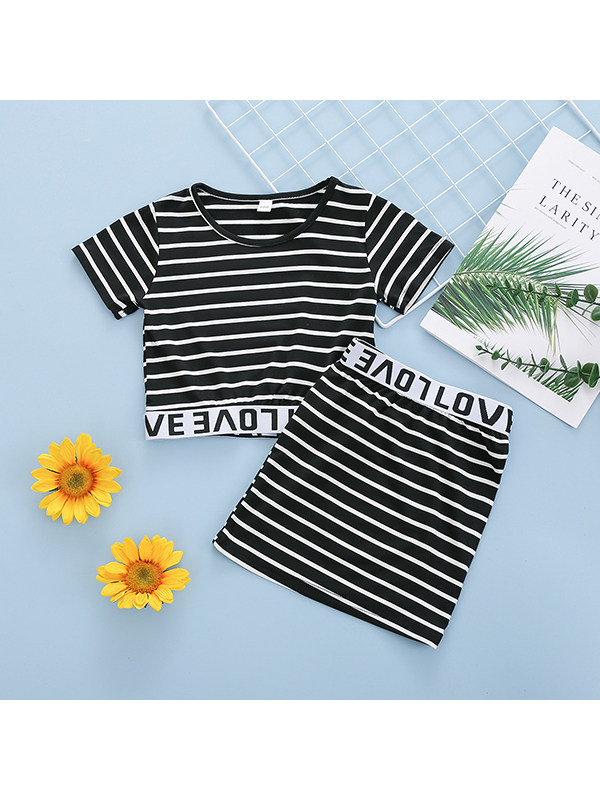 【18M-7Y】Girls Round Neck Short-sleeved Striped Top With Letters Skirt Suit