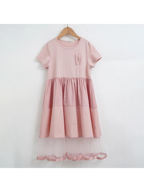 【4Y-13Y】Big Girl High Waist Net Gauze Puffy Dress