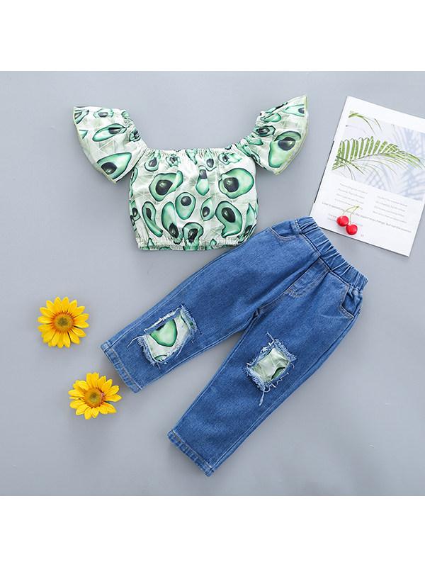 【18M-5Y】Girls Fruit Print Flying Sleeve Jeans Suit